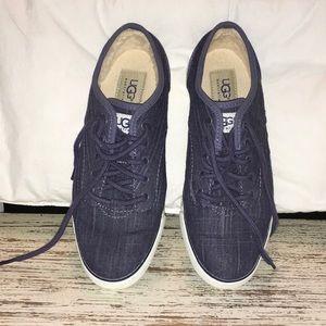 Denim blue UGG sneakers. Wore once. Lined heel.